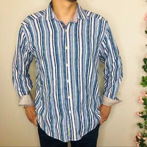 Robert Graham Striped Embroidered Flip Cuff Shirt